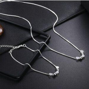 NEW 925 sterling silver necklace/bracelet set